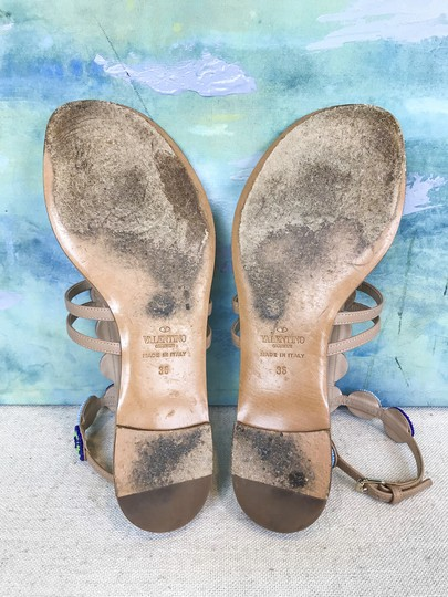 Valentino Leather Beaded Beige Sandals Image 10
