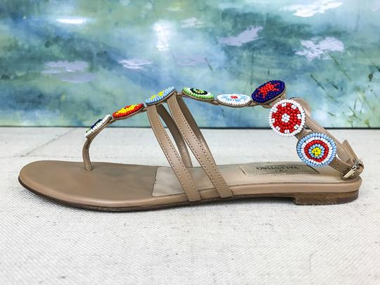Valentino Leather Beaded Beige Sandals Image 6