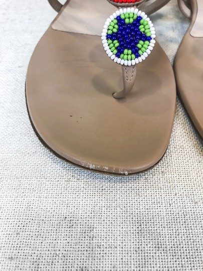 Valentino Leather Beaded Beige Sandals Image 9