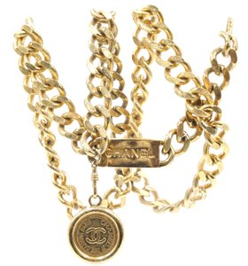 4f1ce8595b Chanel CC chain medallion charm gold long two way necklace belt