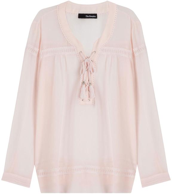Preload https://img-static.tradesy.com/item/24224073/the-kooples-blush-tie-front-lace-up-peasant-semi-sheer-blouse-size-2-xs-0-1-650-650.jpg