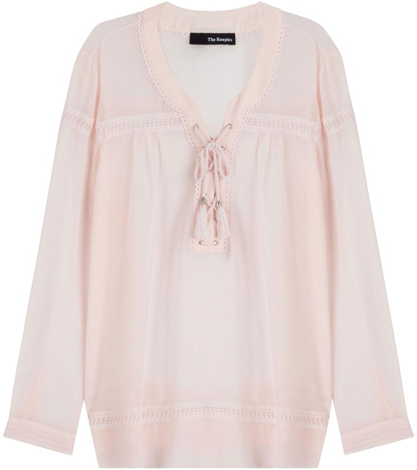 47caab28432 The Kooples Blush Tie-front Lace-up Peasant Semi Sheer Blouse Size 2 ...
