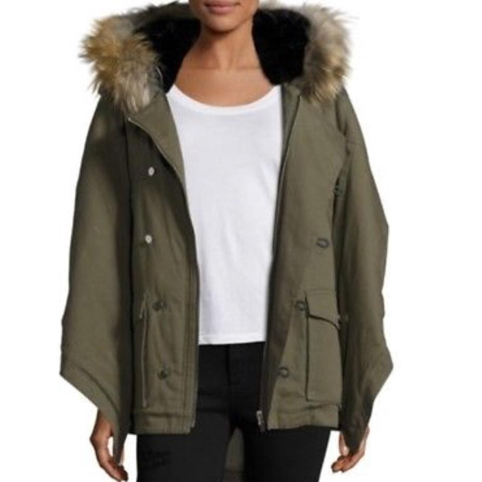 59307c8e6 The Kooples Green Olive Khaki Cotton Hooded Luxurious Parka Puffer with  Real Coat Size 8 (M) 62% off retail