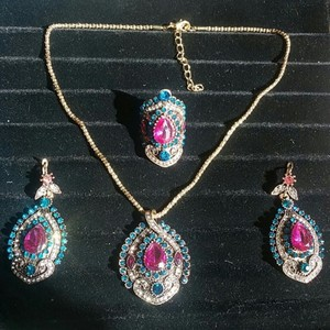 Fashion Jewelry For Everyone Gold 925 Sterling Silver Over Plated Indian Multi Stone 4 Pcs Us 8 Jewelry Set