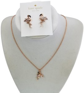 Kate Spade Kate Spade New York Flamingo Rose Gold Plated Earrings And Necklace