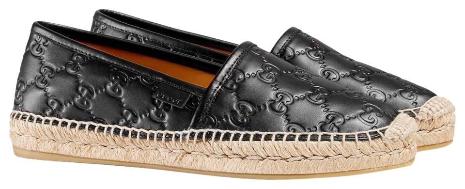 4b58cb4c1f2 Gucci Black New Women s Pilar Leather Gg Logo Espadrilles 454703 Flats