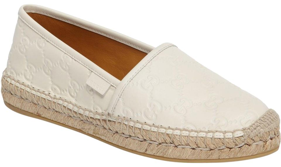 19021dadadb Gucci M White New Women s Pilar Leather Gg Logo Espadrilles 454703 Flats