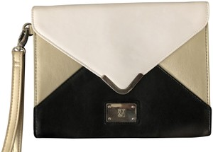 New York & Company Color-blocking Evening Night Out Date Night Black / White / Pewter Clutch