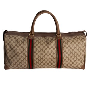 Gucci Vintage Monogram Canvas Leather Luggage Brown Travel Bag