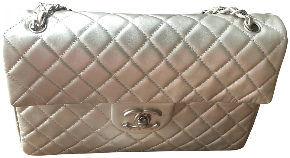 c7c21563e39d Chanel with Top Handle Classic Flap 2009 Jumbo Soft Mettalc Gray Lambskin  Leather Shoulder Bag