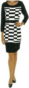 Nine West Geometric Print 3/4 Sleeves Contrast Colors Round Neckline Fitted Design Dress