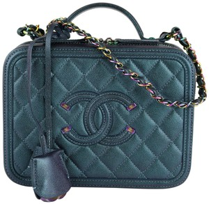 b201f62f9ca9 Chanel Vanity Case Medium Rainbow Dark Turquoise Iridescent Lambskin ...