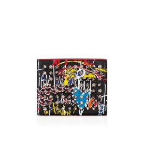 Christian Louboutin Coolcoin Red Loubitag Graffiti Logo Spike Leather Card Holder Wallet