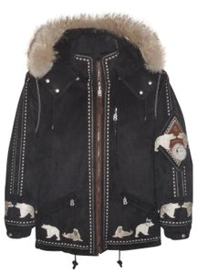 Bogner Gorsuch Ultra Suede Raccoon Fur Embroidered Coat