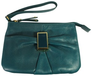 Audrey Brooke Leather Clutch 00.50 Wristlet in teal
