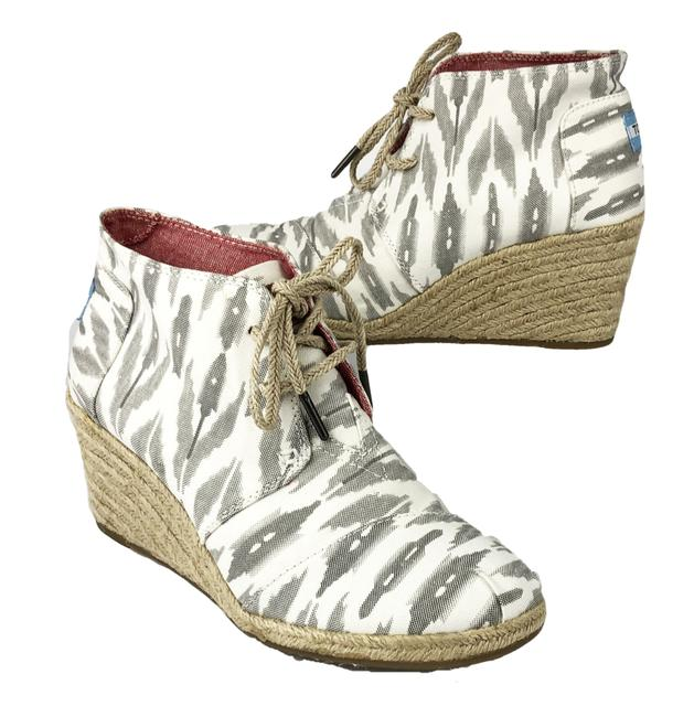 Item - Creamy White and Gray Ikat Desert Wedge Espadrilles Womens Ankle Boots/Booties Size US 8.5 Regular (M, B)
