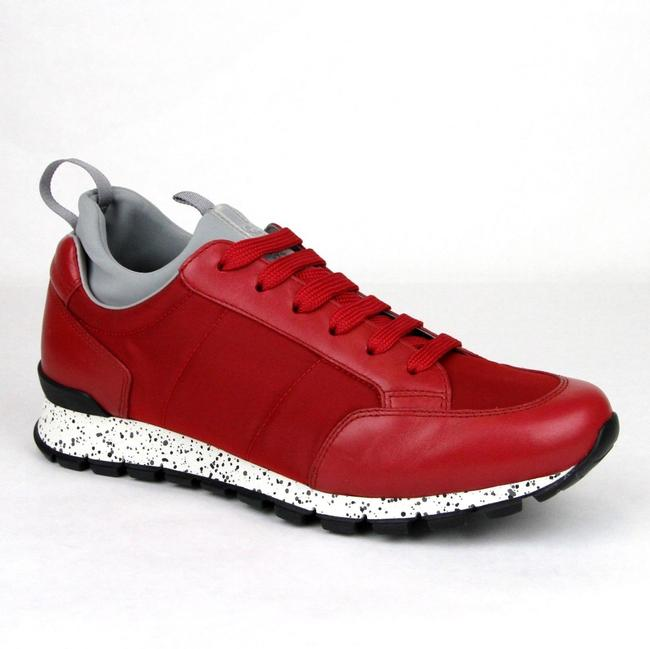 Item - Red Leather/Nylon Sneaker with Gray Insert Uk 6.5 / Us 7.5 4e3052 Shoes
