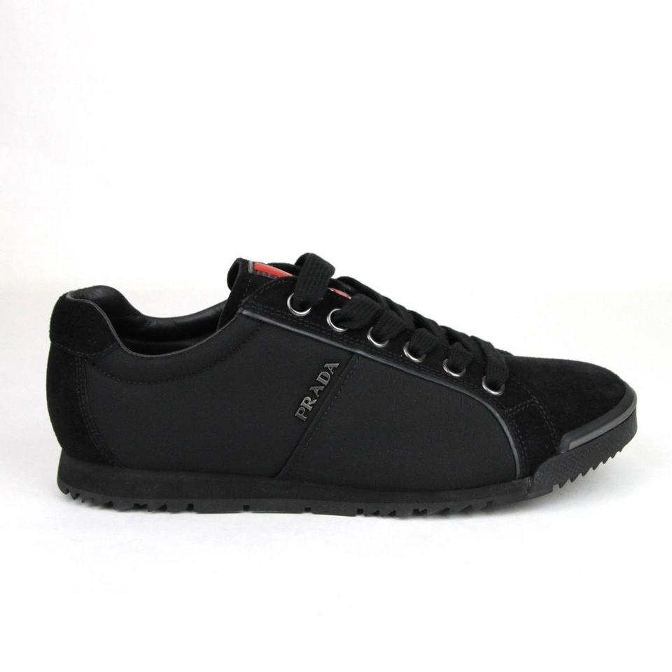 3fa46c99a5 Prada Black Men's Suede/Canvas Sneaker with Logo Uk 5 / Us 6 4e2719 Shoes  41% off retail