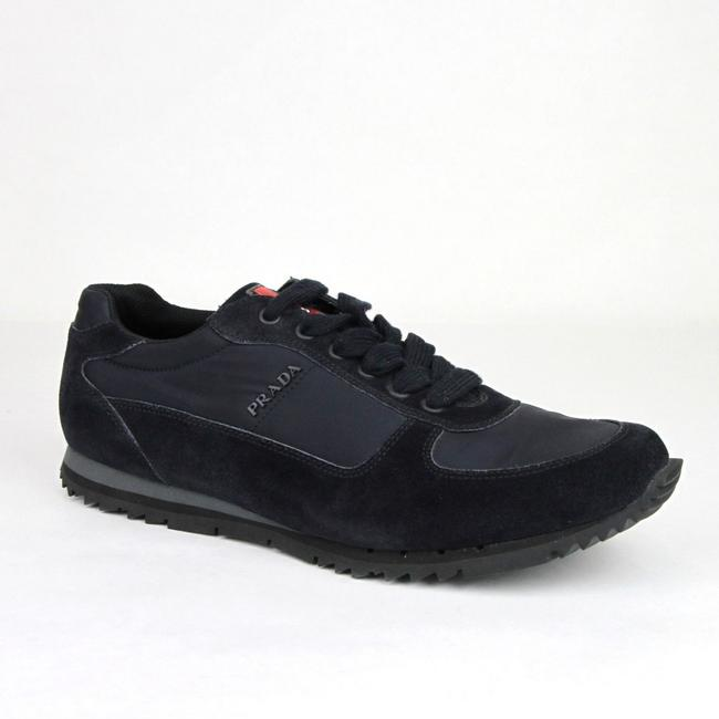 Item - Navy Men's Suede/Nylon Sneaker with Logo Uk 8 / Us 9 4e2721 Shoes