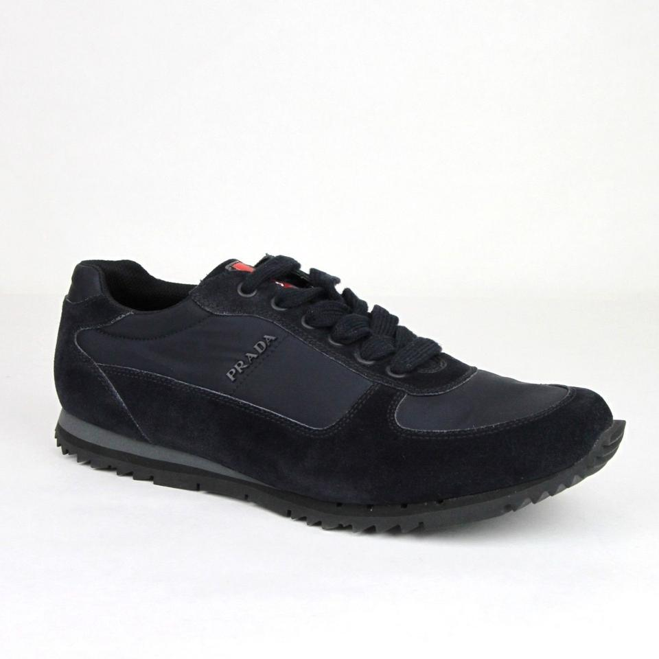 d41af89fd2 Prada Navy Men's Suede/Nylon Sneaker with Logo Uk 8 / Us 9 4e2721 Shoes 41%  off retail