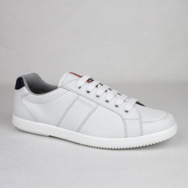 Item - White/Navy White/Navy Leather Sneaker with Logo Imprint Uk 6.5/ Us 7.5 4e2845 Shoes