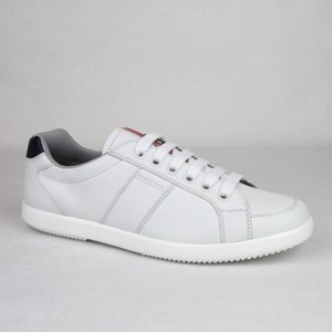 Prada White/Navy White/Navy Leather Sneaker with Logo Imprint Uk 7.5/ Us 8.5 4e2845 Shoes