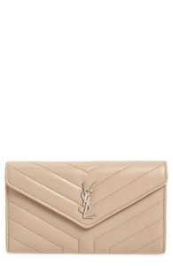 Saint Laurent NEW Saint Laurent Matelasse Loulou Flap Wallet Dark Beige