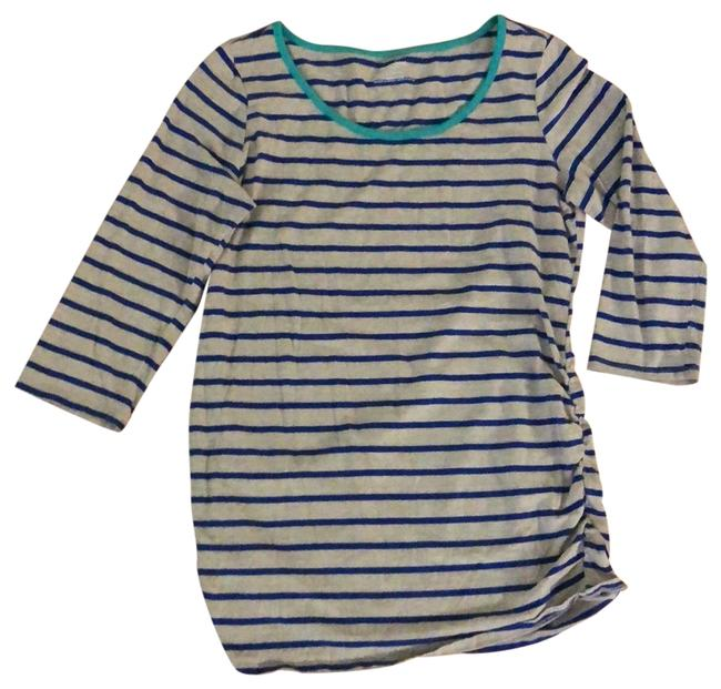 Item - Tan Blue Striped Maternity Top Size 12 (L)