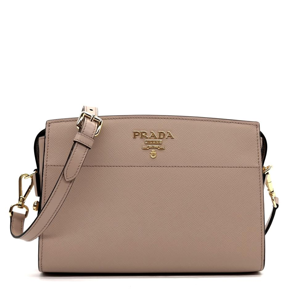 277d1ff8a286 Prada Bibloteque Beige Saffiano Leather Cross Body Bag - Tradesy