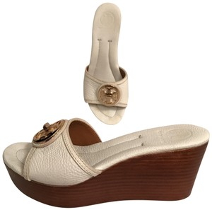 Tory Burch Platform Wedge Leather Summer Designer White Gold Sandals