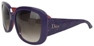 Dior DIOR Red Purple Large Sunglasses Cannage Arms DiorLady Lady1 With Case