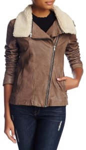 Soia & Kyo Moto Shearling Beige Taupe Leather Jacket