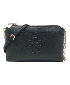 3f2ccdcba96e Tory Burch Bombe (44592) Pebbled Chain Black Leather Cross Body Bag ...