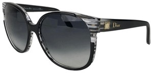 Dior DIOR Black Gray Clear Large Cat Eye Sunglasses Diorline W Case