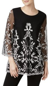 Alfani Embroidered Top Black