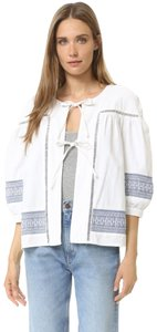 d.RA Stylish Statement Embroidered Jacquard Top White and Blue