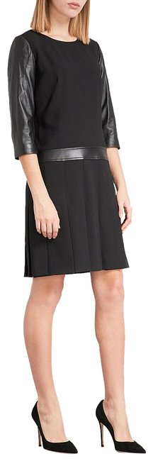 Item - Black Crepe and Leather Mid-length Work/Office Dress Size 4 (S)