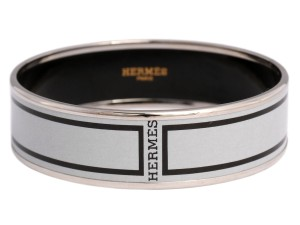 Hermès Wide Black and Gray Bangle