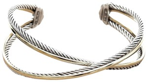 David Yurman DAVID YURMAN Bracelet Sterling Silver 18K Gold CROSSOVER X CUFF Wide