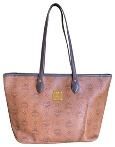 MCM Leather Studded Monogram Tote in Brown