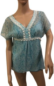 Ann Taylor LOFT Top Turquoise and white