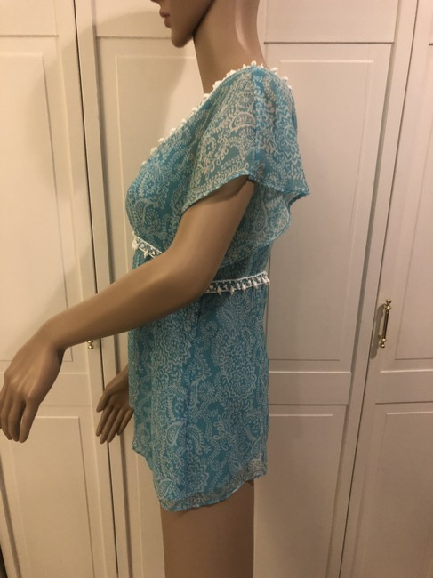 Ann Taylor LOFT Top Turquoise and white Image 1