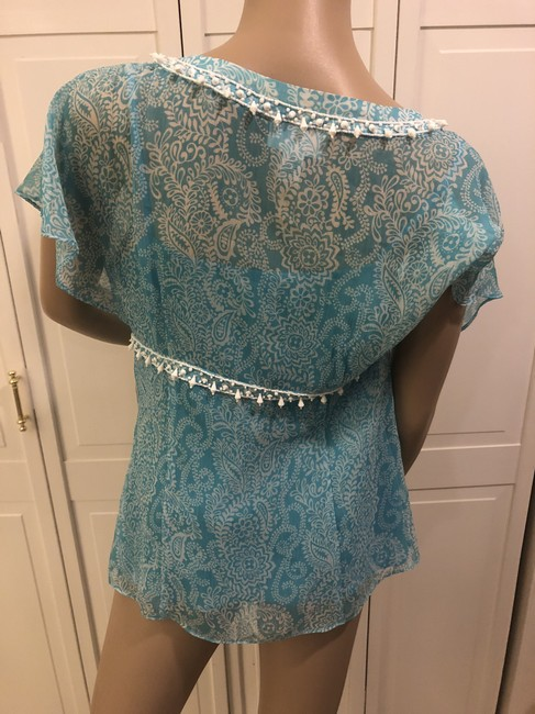 Ann Taylor LOFT Top Turquoise and white Image 2