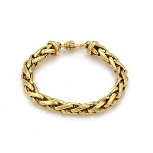 Other 18k Yellow Gold 8mm Thick Woven Chain Link Bracelet