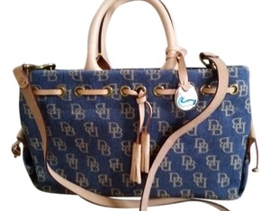 Dooney & Bourke Vintage Fabric Satchel in Denim blue