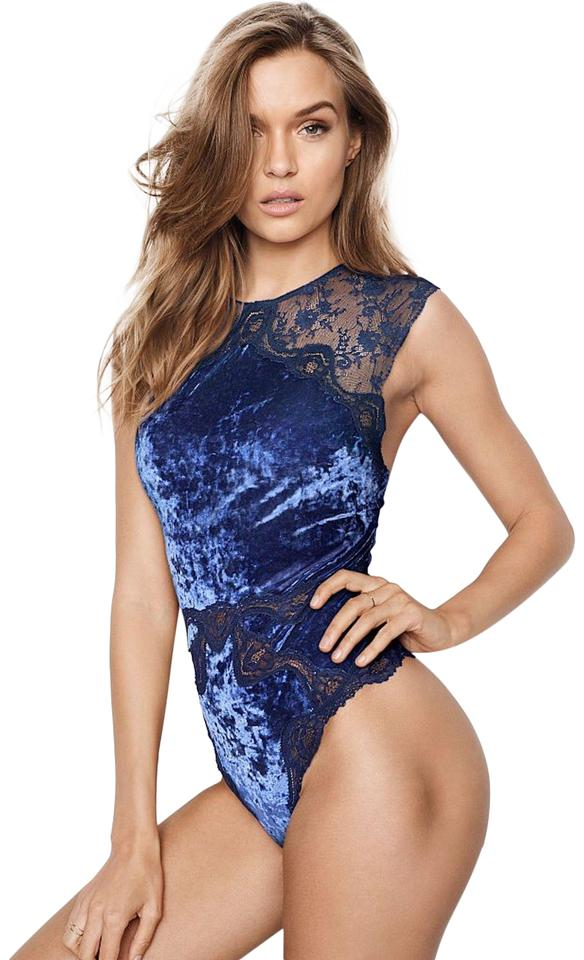 5124eb82a0 Victoria s Secret Blue Crushed Velvet Teddy Bodysuit - Tradesy