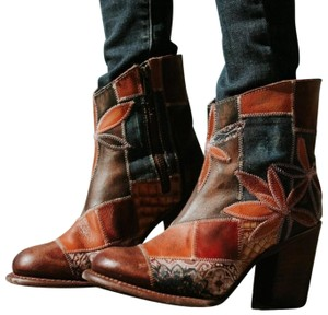 FreeBird Tan Brown Navy Rust Distressed Leather & Canvas Patchwork Boots