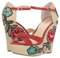 Jessica Simpson Suede Floral Espadrille Open Toe RED Wedges