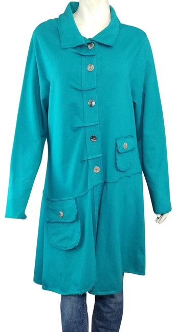 Preload https://img-static.tradesy.com/item/24226516/color-me-cotton-click-green-teal-boho-button-up-french-terry-stretch-hi-lo-coat-size-16-xl-plus-0x-0-1-650-650.jpg