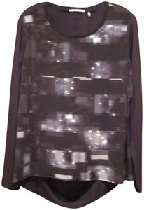 T Tahari Geometric Print Waterfall Effect Backtail Round Crew Neckling Pullover Style Top Multi- Color Slatestone